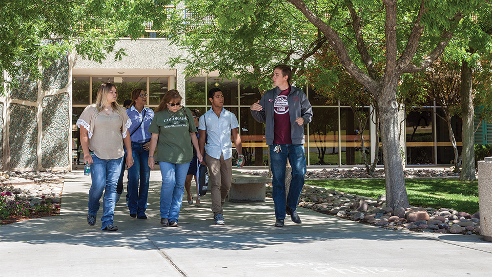 Students touring campus.