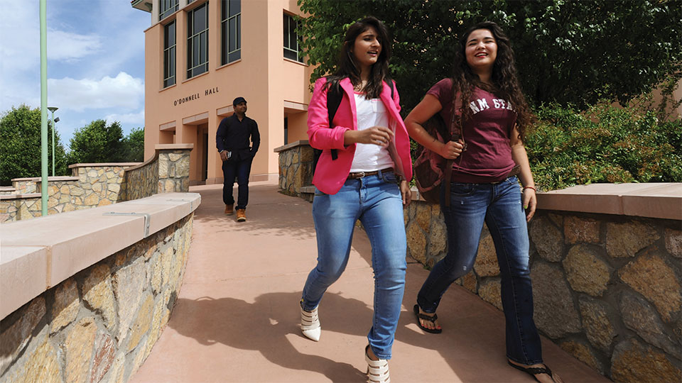 NMSU students outside O'Donnell Hall